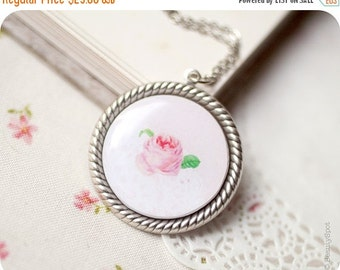 Pink Rose necklace - shabby chick pendant - pink flower jewelry - vintage style necklace - Vintage Rose pendant - bohemian necklace (N051)