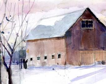 Original Print  OR Original Watercolor -  Barn