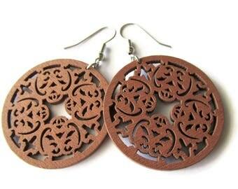 Chestnut Brown Baroque Style Wooden Dangle Earrings - Medium Size