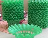 4 Darling Vintage Sweet Jadeite Green Party Favor Filigree Baskets Nut Cups
