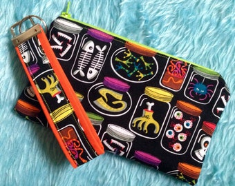 Specimen Zipper Pouch / wristlet and Key fob / Keychain set