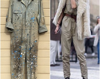 Big Mac Vintage Herringbone Jumpsuit Paint splattered coveralls Destoyed Work Wear Suit Pants Blue Twill Jumper Romper Flight Suit Haute