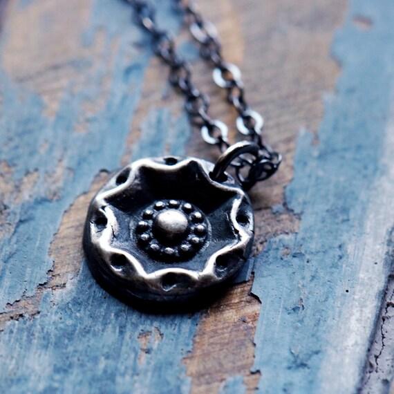 Petite Silver Button Necklace