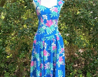 ON SALE 80s Blue Floral Sundress size Medium Large Hawaiian Tropical Tiki Dress