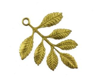 4 gold LAUREL LEAF jewelry pendant 36mm x 31mm (S29). Please read description