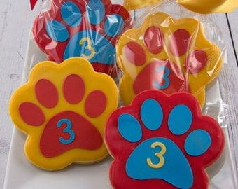 Paw Print Cookies, Puppy Dog Cookies - 30 Decorated Sugar Cookie Favors