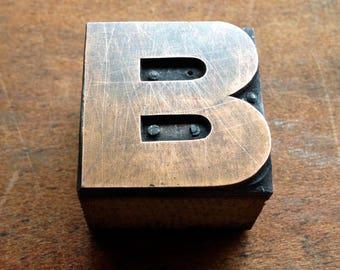 Antique Copper on wood Printers Block - Letter B
