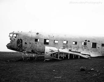 Black and White Photography, Decay Photography, Iceland, WWII Airplane, Plane Wreck, Plane photography, Abandoned, Historic, Icelandic