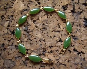 Genuine Jade Gold Filled Link Bracelet