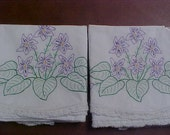 Pair of hand made pillow cases with embroidery and lace