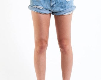 35% OFF SPRING SALE The Vintage Customized Distressed Grid Print Wrangler Jean Shorts