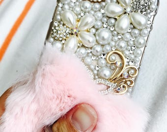 apple iphone 5, 6G 6 plus, 7 case, swarovski crystalized finger kickstand iphone cover with rabbit fur
