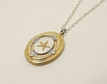 starfish locket // brass starfish necklace