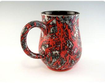 Etched Porcelain Mug With Splatters