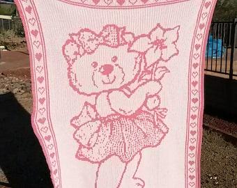 Baby Blanket Girl Flower Bear Pink White