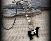 Black Glass Show Steer, Heifer, Cattle, Pendant on Long Boho Style Necklace Approx 30""
