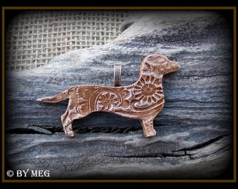 "Dachshund Jewelry Pendant, Doxie, Weiner Dog, Glazed Earthenware, Ceramic Approx  2.75"" Wide **Please Read Description"