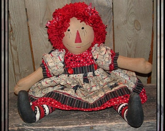 Primitive folk art hand embroidered raggedy doll hand painted legs yarn hair HAFAIR OFG cats red black
