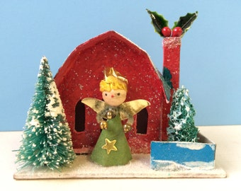 Vintage Inspired Christmas Putz House, Red House with Spun Head Angel