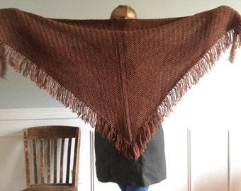 Cavendish Shawl - Hand knit Highland Wool Wrap with Fringe - Only 1 available - Burnt Orange - Smoulder - Ready to Ship