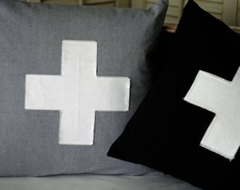 "16"" Pillow Cover Swiss Cross Applique Envelope Style Closure"