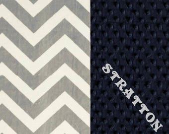 Minky Baby Blanket Boy, Blue Gray Chevron Personalized Baby Blanket - Nursery Decor // Custom Baby Blanket // Navy Chevron Blanket