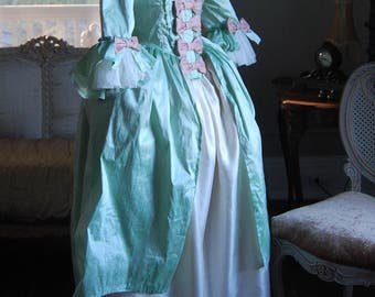 Spring green silk and satin Marie Antoinette Victorian inspired rococo costume dress halloween
