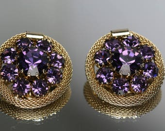 Vintage Weiss Gold Tone Metal and Purple Rhinestone Clip Earrings