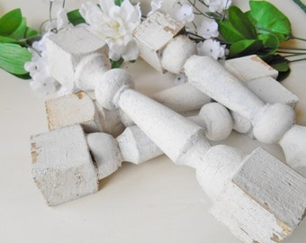 Four Vintage Shabby White Chippy Wood Spindles