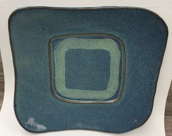 Ceramic Plate -   Ceramic Platter in Blue with highlight in greenish blue In Stock and Ready to Ship