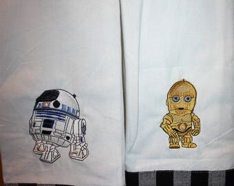 C3PO and R2D2 Machine embroidered kitchen towel set