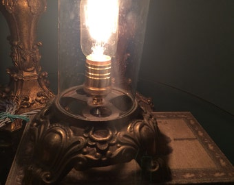 Vintage Industrial Glass Dome Cloche Lamp Light with Edison Bulb