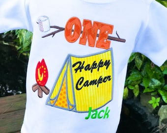 One Happy Camper Shirt - Camping Birthday Shirt - First Birthday - Personalized Shirt - Campfire - Smores - Tent - Happy Camper Birthday