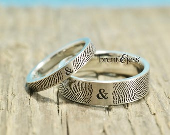 You & Me Forever Fingerprint Wedding Band Set in Sterling Silver Personalized fingerprint rings with your actual fingerprints