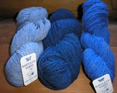 3 Skeins of Fisherman Wool Yarn  Shades of BLUE  by Bartlett Yarns     SALE