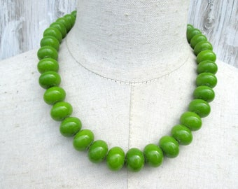 Chunky Olive Green Beaded Necklace, Lime Single Strand  Large Beads
