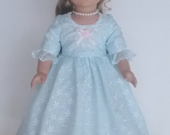 Princess style Blue eyelet Colonial dress, 3 pc. fits American Girl 18 in. dolls. Created for Elizabeth or Felicity  No.691