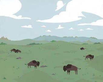 Grasslands | A scenic landscape of bison grazing.