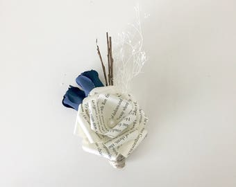 Our Navy Blue Taylor Paper Rose Boutonniere
