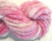 Bulky Handspun yarn Sugar and Spice and Everything Nice 22 yards pink corespun yarn knitting supplies crochet supplies Waldorf doll hair