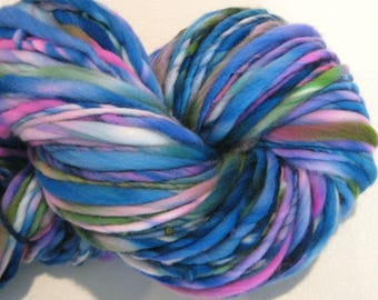 Bulky Handspun Yarn Bachelor Buttons 123 yards hand dyed wool blue yarn, pink yarn, waldorf doll hai,r knitting supplies, crochet supplies