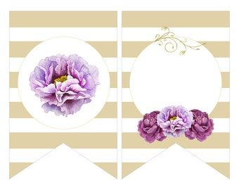 Digital Printable Bridal Shower Banner Flags with Purple Flowers on Gold BB002