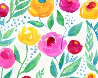 Watercolor Flowers Original Painting on Paper, Pink Flowers, Yellow Flowers, Red Flowers, Nursery Decor, Girl's Room Decor, Gardener Decor