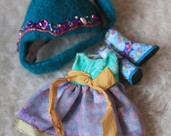 OOAK little set boots, hand felted helmet and dress for Middie & Similar Dolls