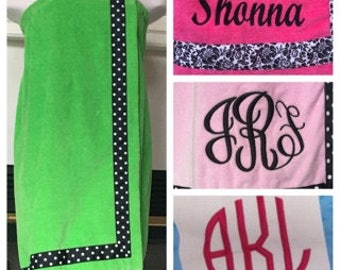 Spa Wrap Personalized Womens Lime Green Towel Wrap With Accent Ribbon