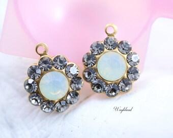 Black Diamond & Grey Opal Swarovski Rhinestone Flower Drops Earring Findings 13mm - 2