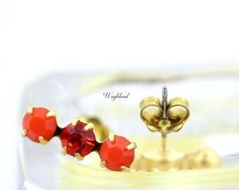 Triple Rhinestone Earring Studs Swarovski Crystal Ear Posts Opaque Coral & Hyacinth - 4