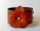 Flower Bracelet Leather Flower Cuff Flower Bangle Flower Leather Cuff Orange Color