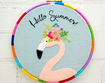 Summer Flamingo Hand Embroidery hoop pattern instant download