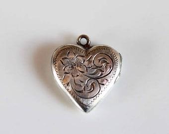 SALE vintage silver heart locket / Birks sterling silver heart shaped locket / floral engraved locket / signature locket
